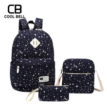 Canvas Waterproof Starry style 3pcs/set School Backpack For Girls Laptop Women Bookbag with Purses And Shoulder Bags