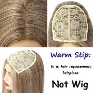 Image 3 - Aigemei Silky Straight Synthetic Hair Invisible Block Replacement Closure 613 Hairpiece for Top Less Hair Women