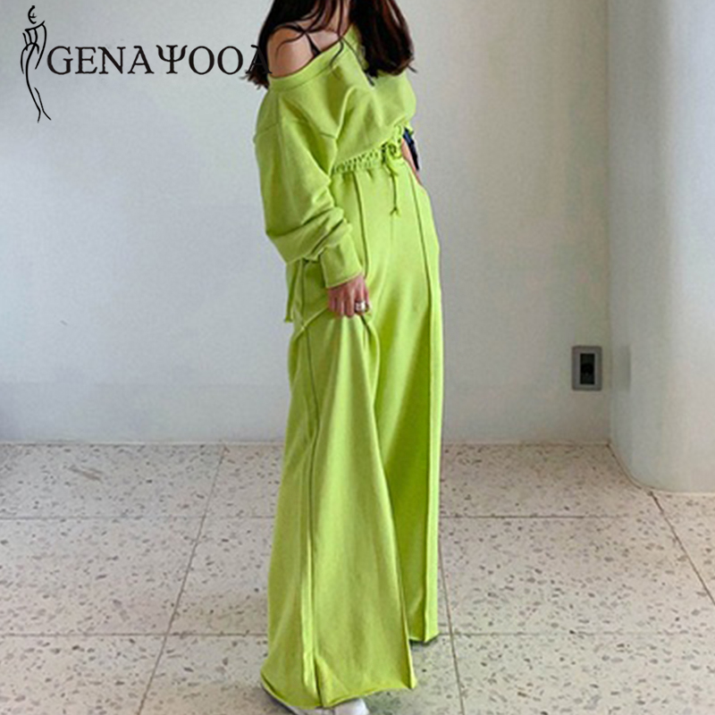 Genayooa 2020 Spring Tracksuit Women Casual Two Piece Set Top And Pants Off Shoulder Tops 2 Piece Suit Women Korean Style Suits