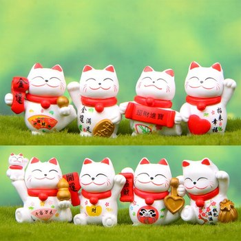 chinese Lucky Wealth Waving Cat Gold Waving Hand Cat Home Decor Welcome Waving Cat sculpture statue decor Car Ornament image