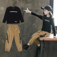 2020Autumn New Childrens Clothes Suit For Girls Letter T shirt + Pants Two piece Suit Korean Girl Foreign Gas Suit