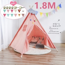 Tents Kids Teepee Indian Cotton-Canvas Children's House-Wigwam Room-Decoration Tipi Portable