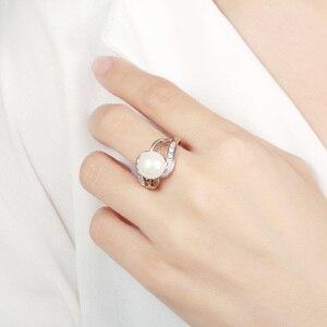 Image 3 - KAMERAON Dainty Cubic Zirconiaแหวนมุกเงินแท้925เครื่องประดับHollowออกแบบแกะสลักหญิงสำหรับงานแต่งงานแหวนกว้างR0917