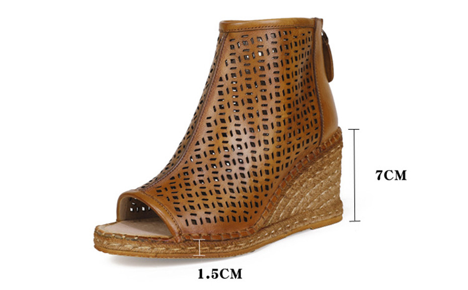 Spring Summer 2020 New Women Wedges Sandals Genuine Leather Peep Toe Hollow Woven High Wedge Heels Shoes Woman High-Top Sandals (1)