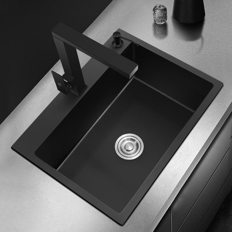 Black Single Bowel Kitchen Sink Vegetable Washing Sink Kitchen Black Stainless Steel Pia Black Sink Above Counter Or Udermount