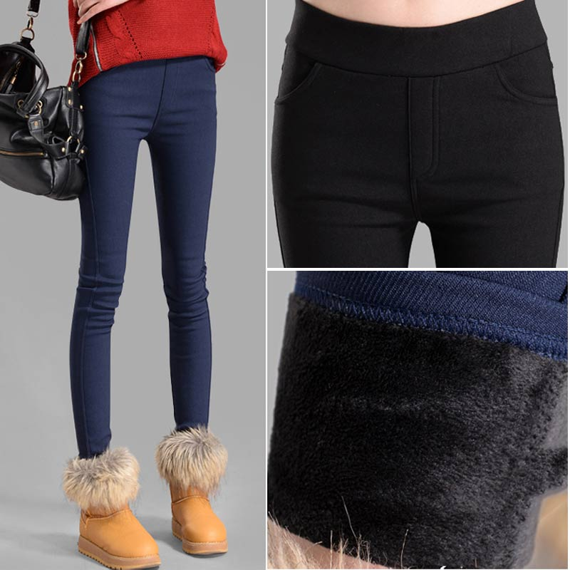 S-3XL Winter Warm 2018 High Elastic Waist Casual Stretch Skinny Pencil Pants Women Trousers Plus Size Clothing Female Leggings