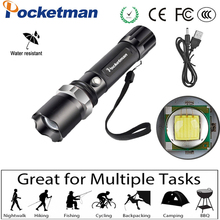 Super Bright Led flashlight USB Flashlight  Zoomable 5 Modes lantern Rechargeable Torch High Power Battery Use 18650  For Bike