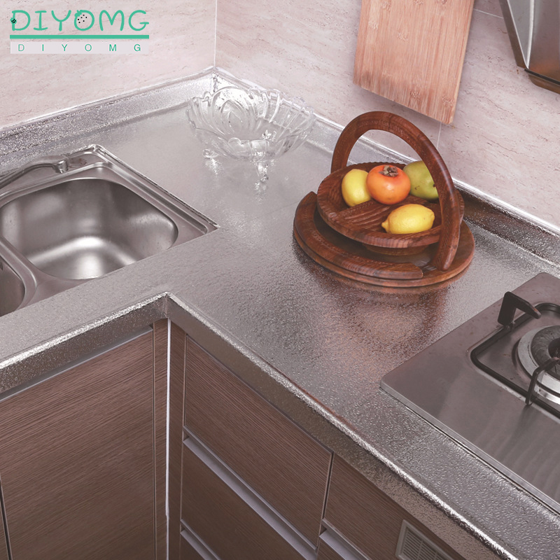 Kitchen Oil-proof Self Adhesive Stickers Anti-fouling High-temperature Aluminum Foil Waterproof Wallpaper Cabinet Contact Paper 3
