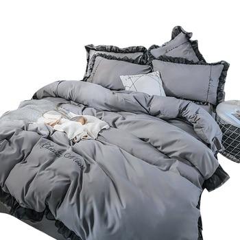 3/4pcs King Queen Size Home Textile Bedding Set Men Women Bed Duvet Cover Pillowcase Sheet 100% Cotton Lace Trim Bedding Set