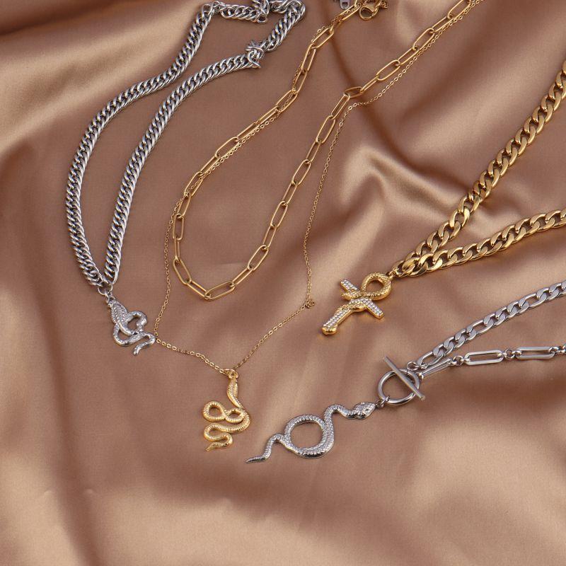 Женское Ожерелье из нержавеющей стали, ожерелье в виде змеи, толстая цепочка, чокер, ожерелье с подвеской в виде змеи с кристаллами, ожерелья