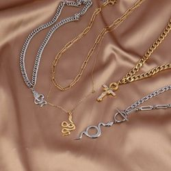 Women's Stainless Steel Necklace For Women Snake Necklace Thick Chain Choker Necklace Snake Crystal Pendant Necklace Necklaces