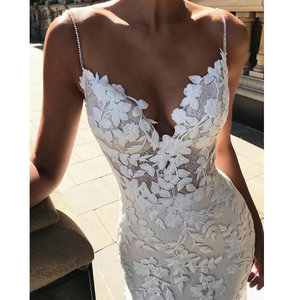 Image 3 - 2020 Berta mermaid Wedding Dresses 3D Floral Applique Lace backless Sweep tulle Train Plus Size boho beach Bridal Gowns Robe De
