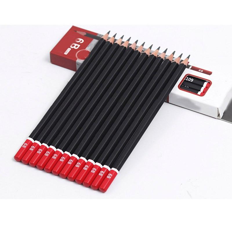 12 Unids/lote Sketch Pencil HB 2B 3B 4B 5B 6B 8B 10B 2H 3H Soft Medium Hard Carbon Pen Office School Drawing Pencil