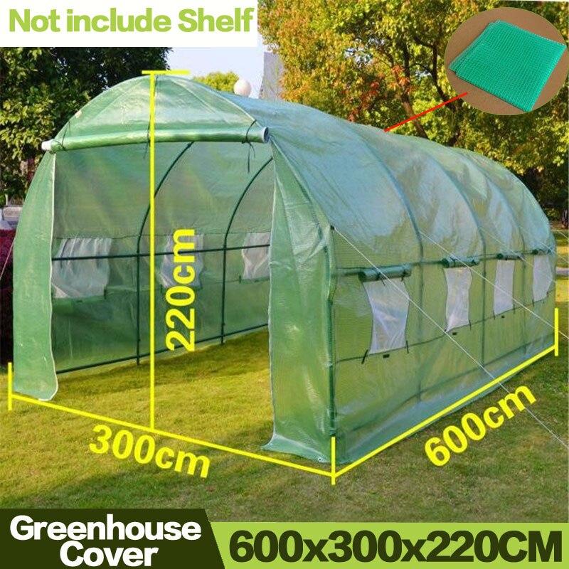 屋外 600*300*220 センチメートル温室ポータブルプラスチック鳥害虫コントロール庭植物絶縁温室カバー含めない棚