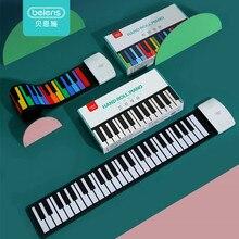 Beiens Portable 49 klawiszy cyfrowa klawiatura Roll Up fortepian silikonowy elektryczny ręczny fortepian prezent dla dzieci zabawka dziecięca instrumenty muzyczne