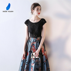 Image 3 - DEERVEADO Cap Sleeve Elegant Evening Dresses Long Flower Pattern Short Sleeve Lace Dress Evening Gowns Formal Party Dresses M246