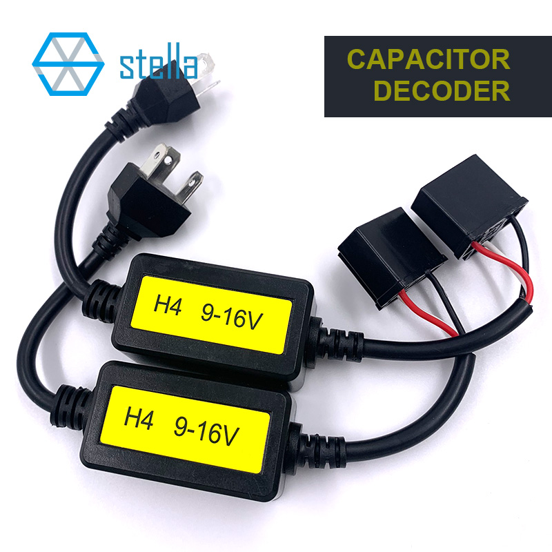 Stella 2 pcs H4 canbus decoder for auto lamp capacitance decoding solve light flashing/ high beam doesn't work canbus problem