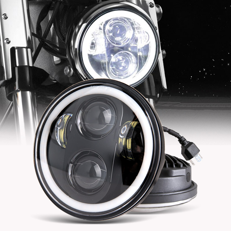 Motorcycle Accessories 5.75 LED Headlight 5 3/4 Inch White Amber Halo For Harley Dyna Sportster Victory Triumph Indian Iron 883