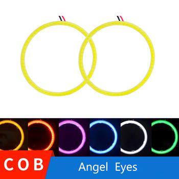 2x Angel Eyes 60mm 70mm 80mm 90mm 100mm 110mm 120mm efekt aureoli światło przeciwmgielne led motocykl światła do jazdy dziennej reflektor drl tanie i dobre opinie Światło dzienne Halo Rings 60mm-120mm Angel eyes COB 12 v 0 3kg COB Angel Eyes for BMW LADA YSY-AE-COB-60mm White Blue Red Yellow Pink Ice blue