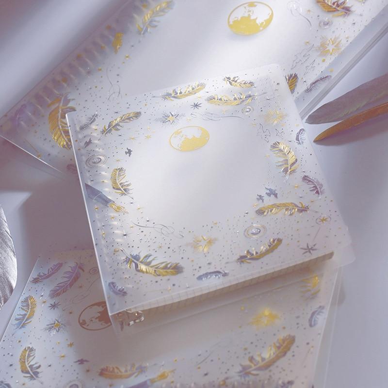 A5 B5 Translucen Bronzing Feather Binder Notebook Planner Organizer Paper Diary Bullet Journal Stationery School Supplies