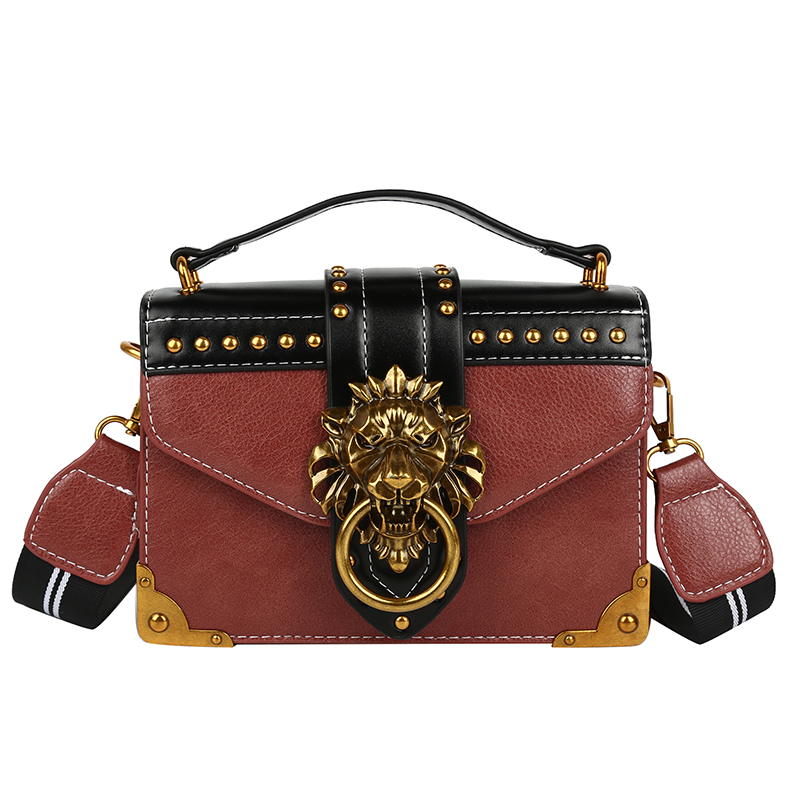 H1e538241432c4266a851a497a26c8f7aD - Female Fashion Handbags Popular Girls Crossbody Bags Totes Woman Metal Lion Head  Shoulder Purse Mini Square Messenger Bag