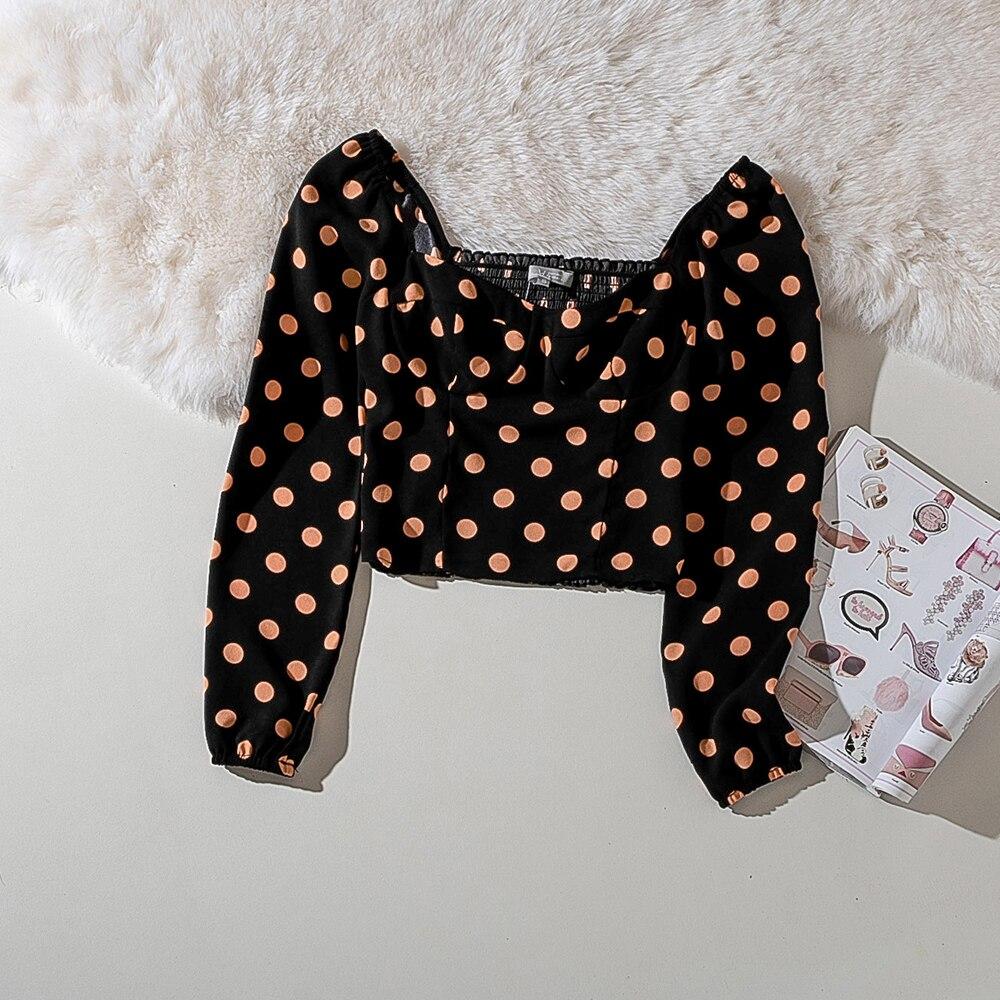 Cthink Spring 2020 Bodycon Dot Black Shirt Women Fashion Slim Short Blusas For Woman Stylish Square Collar Lantern Long Sleeve