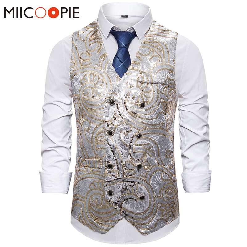 Floral Golden Glitter Waistcoat Vest Men Vintage Double Breasted Sleeves Mens Sequine Vests Jackets Night Club Prom Dance Gilets