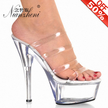 15cm High-Heeled transparent heels Bride Wedding Shoes Platform Steel Pipe Dance Shoes 6 inch summer slippers Rome Sexy shoes sexy fashion models to shoot steel pipe shoes shoe stage shows black high heeled shoes bride wedding sandals