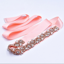 Belts Bridal-Accessories Dress Evening-Dresses-Belt Bride Rhinestone Wedding Rose-Gold