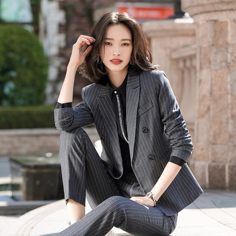 2020 Spring And Autumn Women's Professional Pants Suit Office Overalls Feminine Casual Striped Women's Blazer Skirt Two-piece