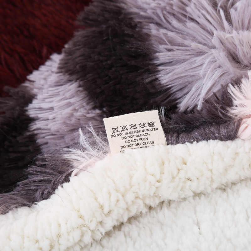 Super doux Double couverture épaisse agneau cachemire canapé bureau enfants couverture serviette voyage polaire maille Portable en peluche couverture
