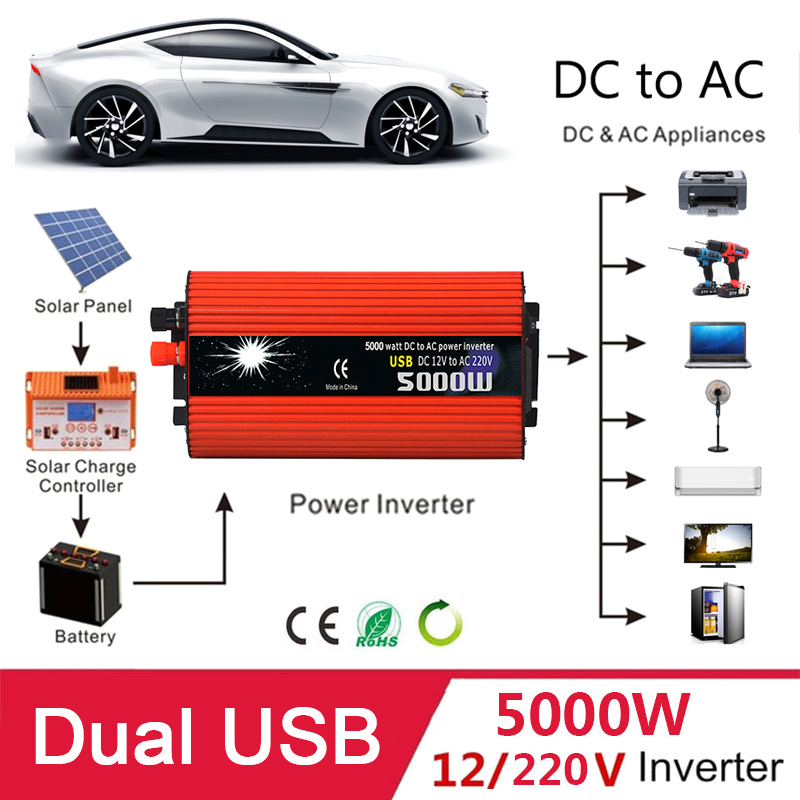 Dual USB 5000W Watt DC 12V to AC 220V Portable Car Power Inverter Charger Converter Adapter DC 12 to AC 220 Modified Sine Wave