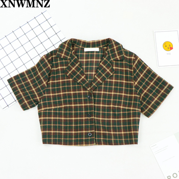 XNWMNZ Plaid Summer crop top women short sleeve plaid shirt for women vintage blouses korean button up shirt women 2020 za skirt button up long sleeve plaid shirt