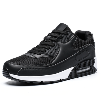 2020 Popular Fashion Casual Shoes for Men Air Cushion Sneakers Man Lace-up Breathable Max Walking Trainer Male Tenis Feminino - Black - White, 46