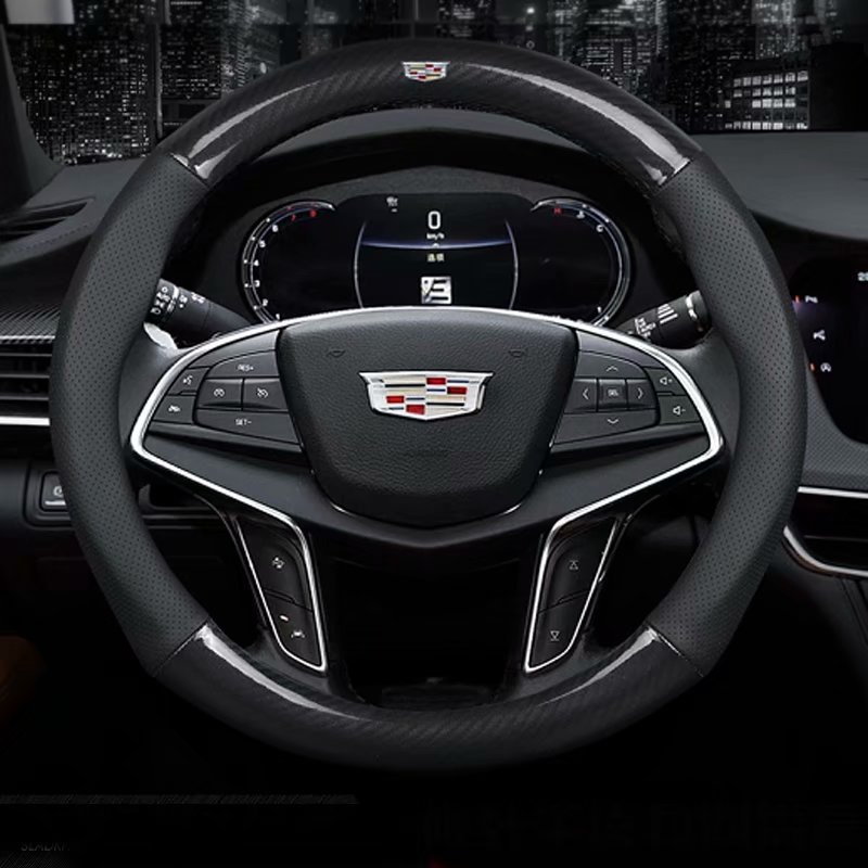 Leather Car Steering wheels Cover 37 38cm  15in Nonslip for Cadillac ATS CT6 CTS SRX XT5 XT4 SLS XTS XT6 ESCALADE XLR|Steering Covers|Automobiles & Motorcycles - title=