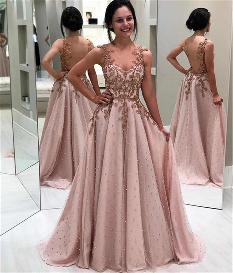 Sexy Beaded Robe De Soiree  Evening Dress Long Elegant Lace Appliques Evening Gowns Illusion Backless A-Line Formal Party Dress