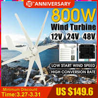 800W 12V/24V/48V 6 Blade Wind Generator+Controller Wind Turbines Horizontal Home Power Windmill Energy Turbines Charge