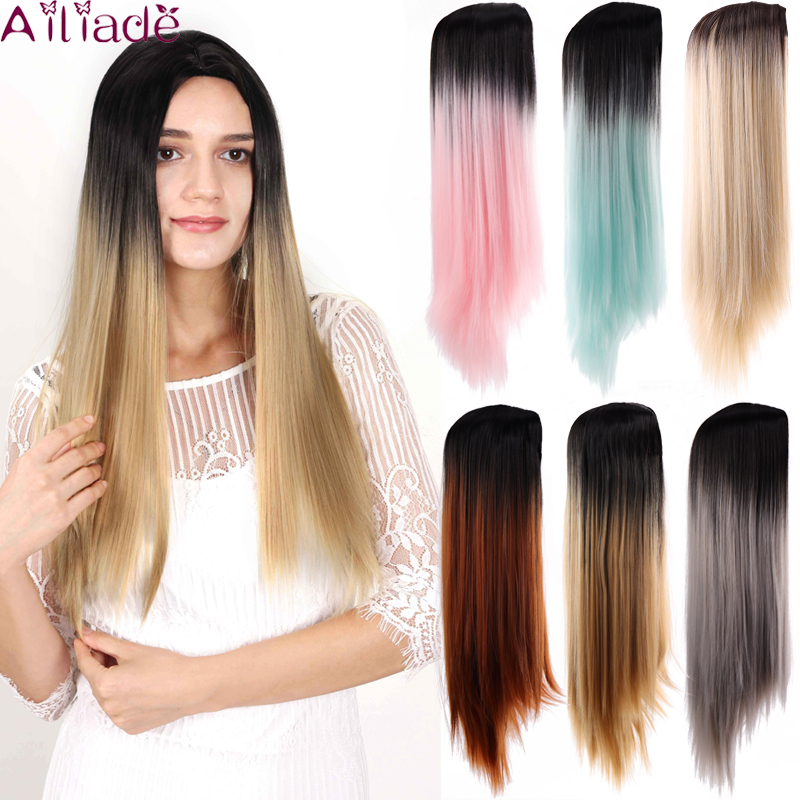 Ailiade Long Straight Hair Middle Part Heat Resistant Synthetic Two Tone Wig For Women Ombre Brown Natural Hair Female Wig Synthetic None Lace Wigs Aliexpress