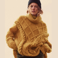 KHALEE YOSE Winter Pullover Sweater 2019 Warm Thick Warm Sweater Twist Turtleneck Long Sleeve Oversized Boho Knit Sweater Jumper