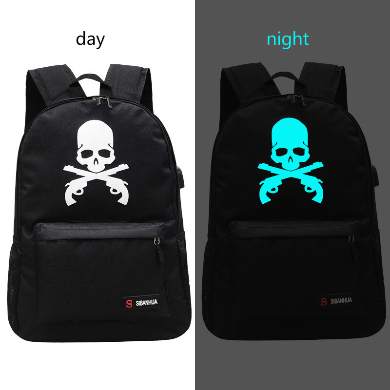 New Printing Luminous Backpack Fashion Popular All-match Student Bag With USB Charging  Backpack
