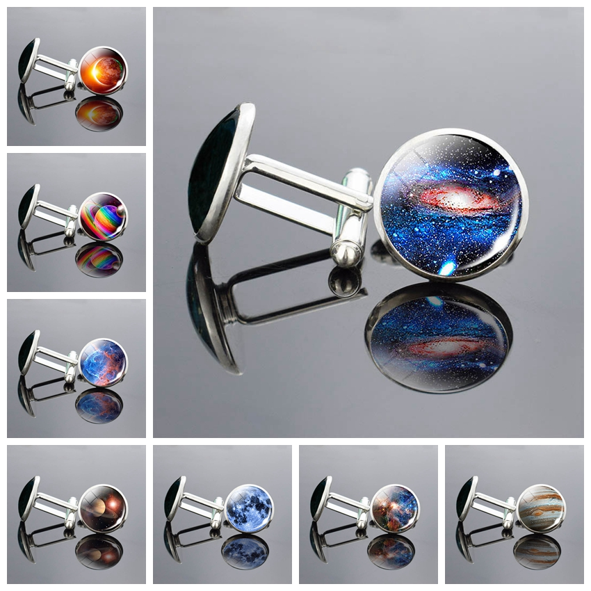 Solar Eclipse Earth Cufflinks Best Man Cufflinks Set Cufflinks Wedding Outer Space Nebula Shirt Cufflinks Men Accessories