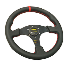 Hot 330mm Sport Car Steering Wheel 13inch Leather Flat Style Red Stitich Game Steering Wheel