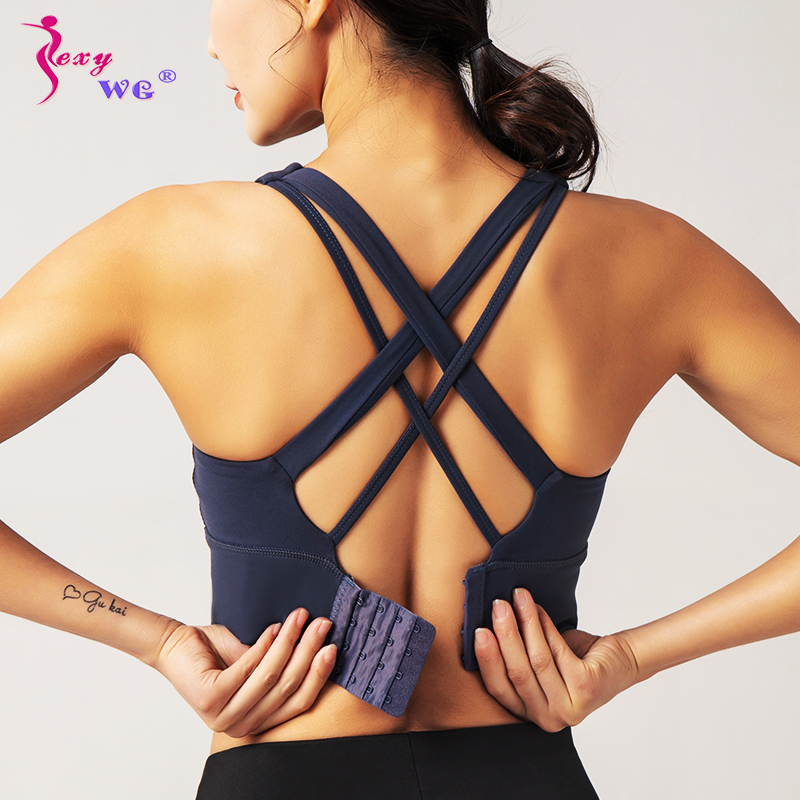 SEXYWG Adjustable Back Sport Bras Yoga Shirts Women Running Vest Yoga Bra Shockproof Gym Brassiere Sports Top Push Up Sportswear