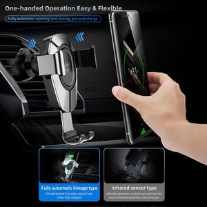 Image 5 - ROCK 15W Fast Wireless Charging Gravity Car Mount for iPhone 8 Plus X Xr Xs Max 11 Pro Max Car Holder for Huawei P30 Mate30 Pro