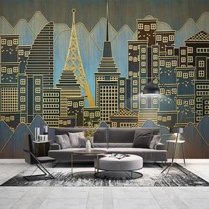 Современные золотые линии рельефные городские строительные фото обои для гостиной, настенное покрытие, домашний декор, Настенные обои