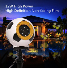 Football Rotating Moving Snowflake Film Projector Light Outdoor IP44 Water Resistant Pattern Decoration Lamp for Christmas Xmas