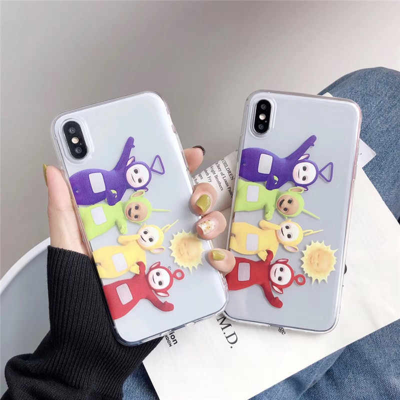 Hot Bonito Dos Desenhos Animados caso capa para o iphone X XR XS MAX 6 Teletubbies 6S 7 8 plus moda anime transparente Anti-Queda TPU telefone coque