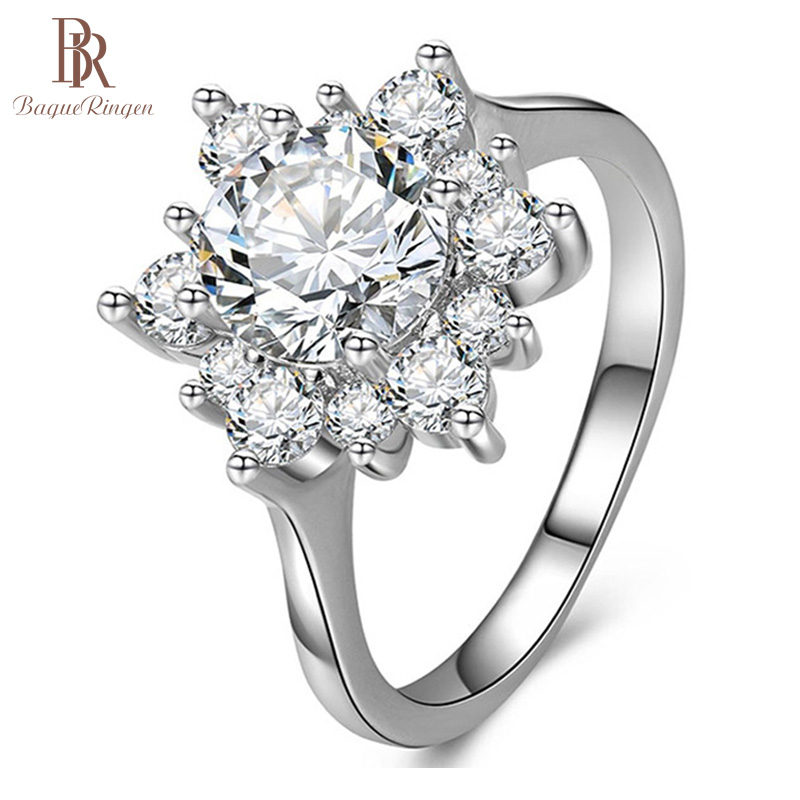 Bague Ringen Luxury Classis Crystal Ring For Woman 100% Real Sterling Silver 925 Ring Wholesale Party Chirstmas Femal Gifts