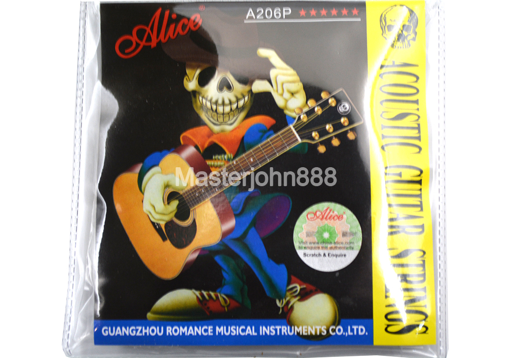 Alice A206P-SL Acoustic Guitar Strings Stainless Steel Phosphor Bronze Color Strings Wholesales Free Shippng