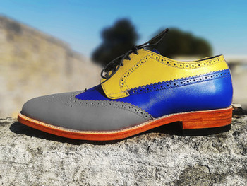 Men Vulcanize Shoes Handmade Blue Gray Yellow Lace Up Mens Pu Leather Wing Tip Fashion Color Tv944